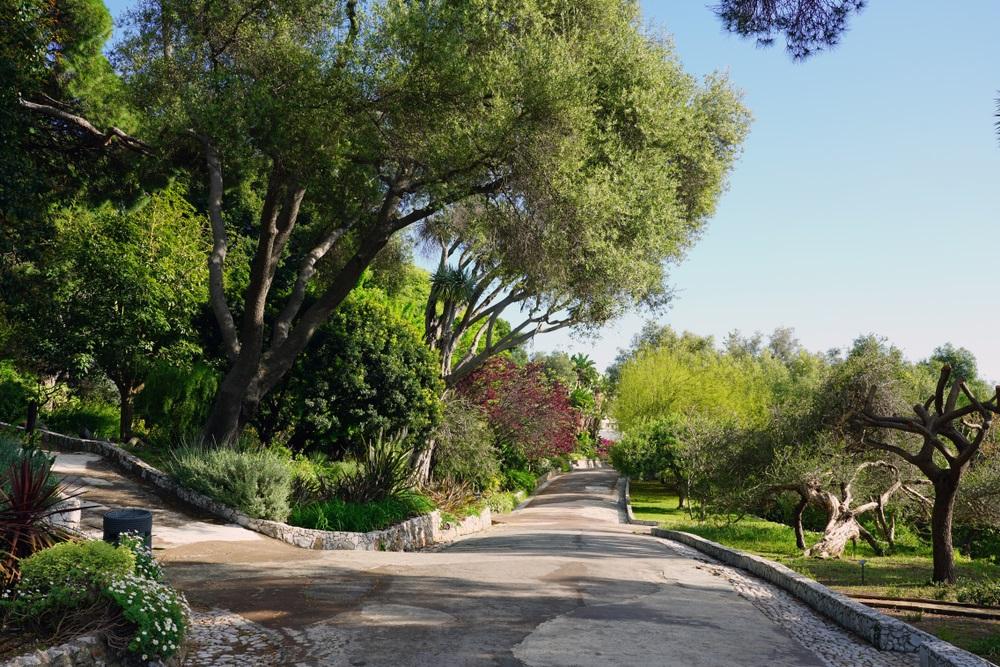 Uitzicht op de botanische tuinen van La Alameda Gibraltar in Gibraltar, Andalusië.