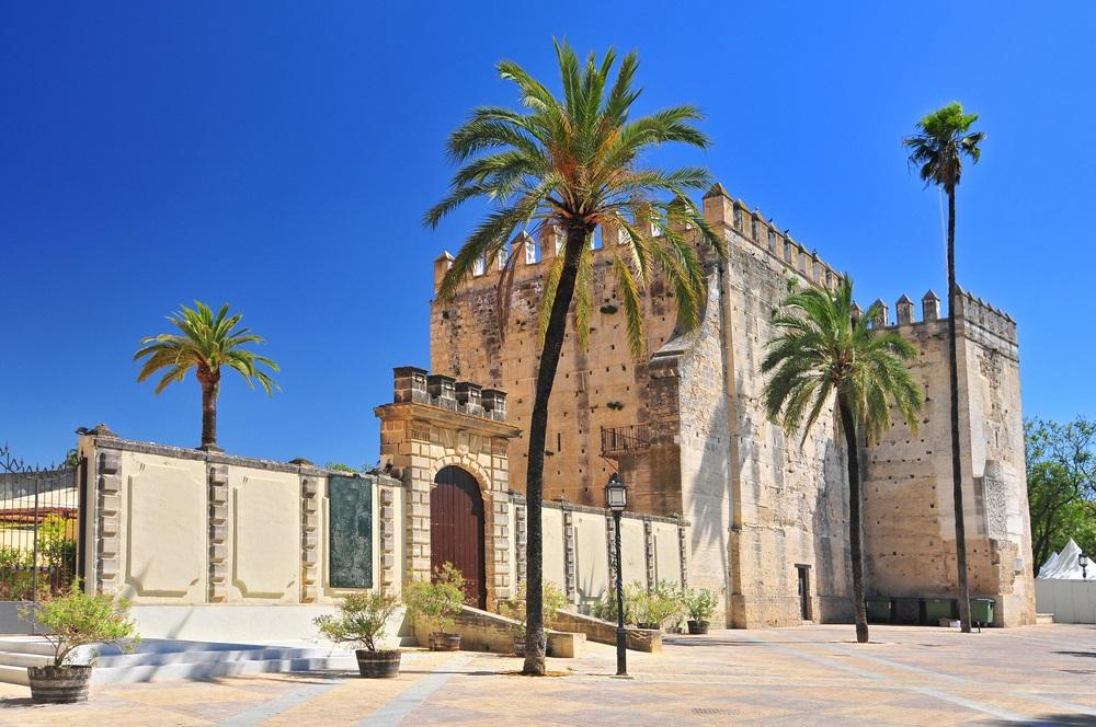 Alcazar in de stad Jerez de la Frontera, Costa de la Luz, provincie Cadiz, Andalusië.