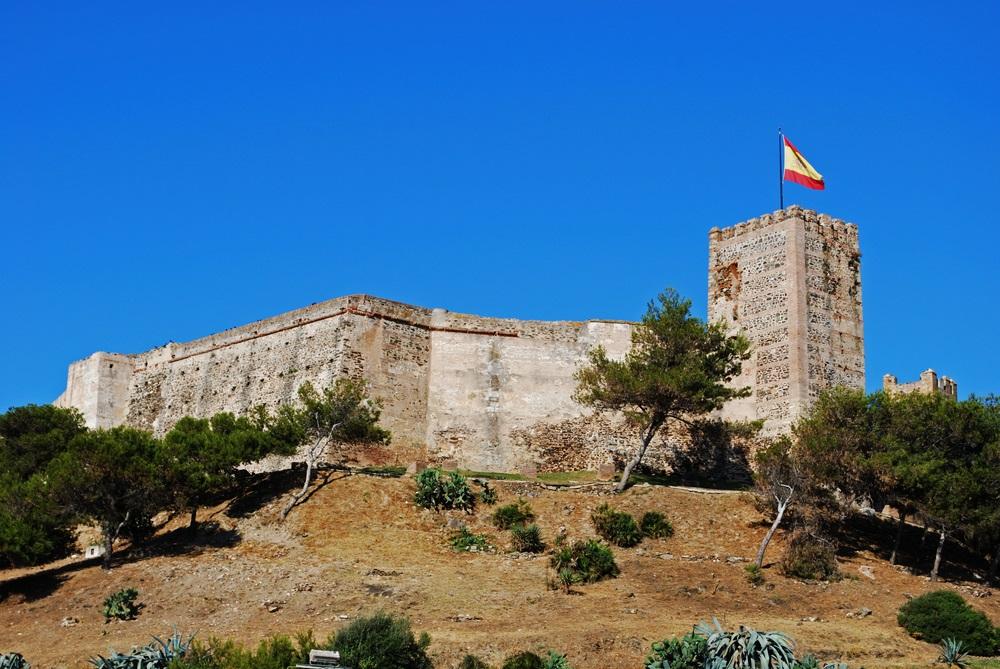 Uitzicht op Sohail kasteel, Fuengirola, Andalusië, provincie Malaga.