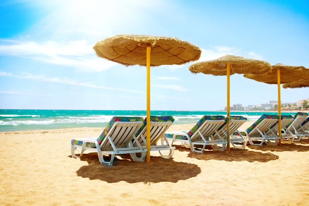 Strand van Benalmadena, Andalusië.