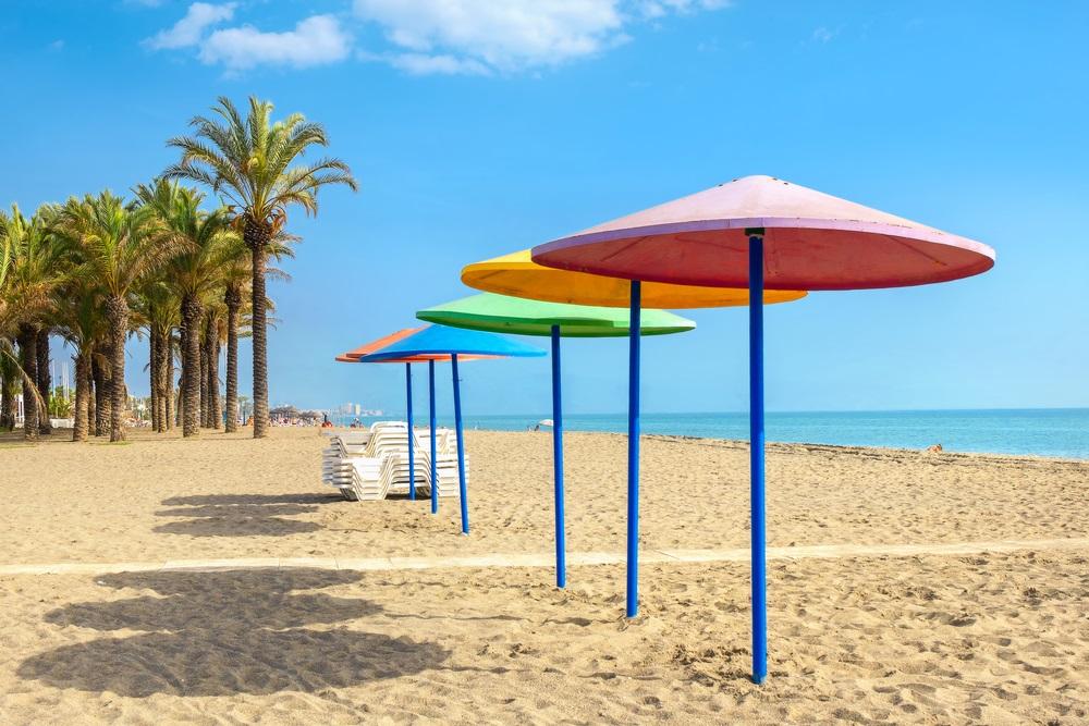 Torremolinos strand. Provincie Malaga, Costa del Sol, Andalusië, Spanje.