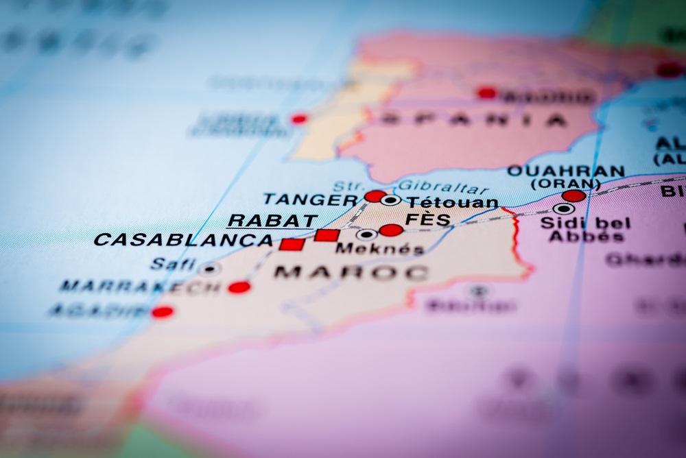 Afstand van Spanje tot Marokko op de kaart.