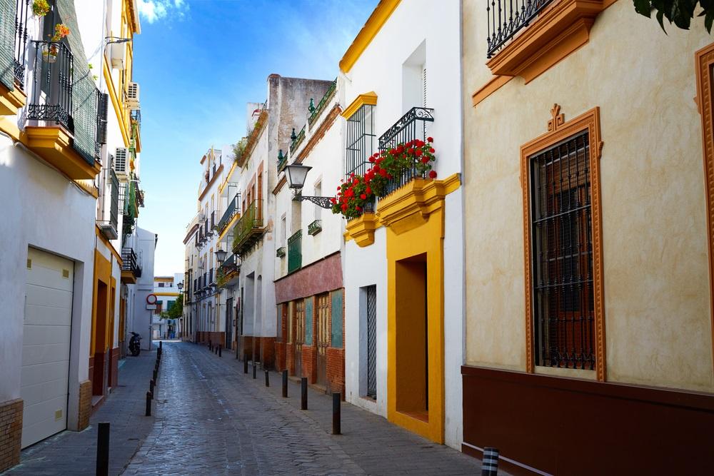 Triana barrio van Sevilla gevels Andalusië Sevilla Spanje.