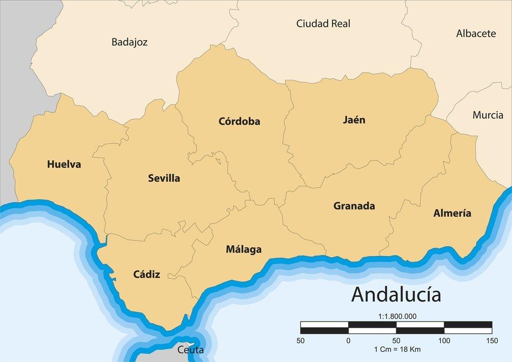 Kaart van de autonome gemeenschap van Andalusië. Spanje.