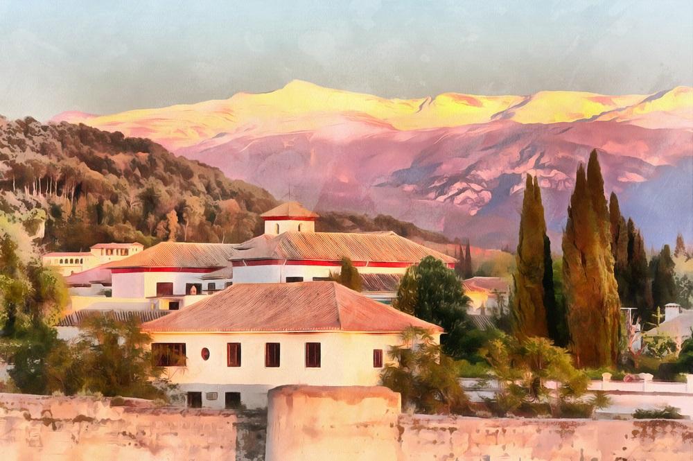 Kleurrijk schilderij van de oude stad en de bergen van de Sierra Nevada, Granada, Andalusië, Spanje.