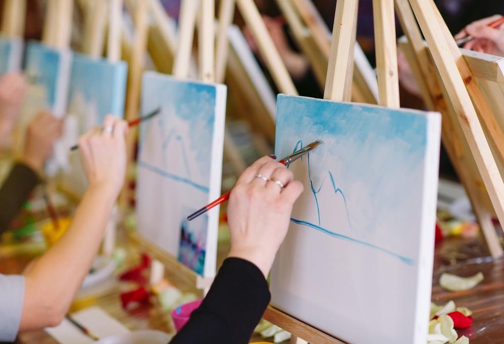Schilderen tijdens een schildervakantie in Andalusië, groepsles.