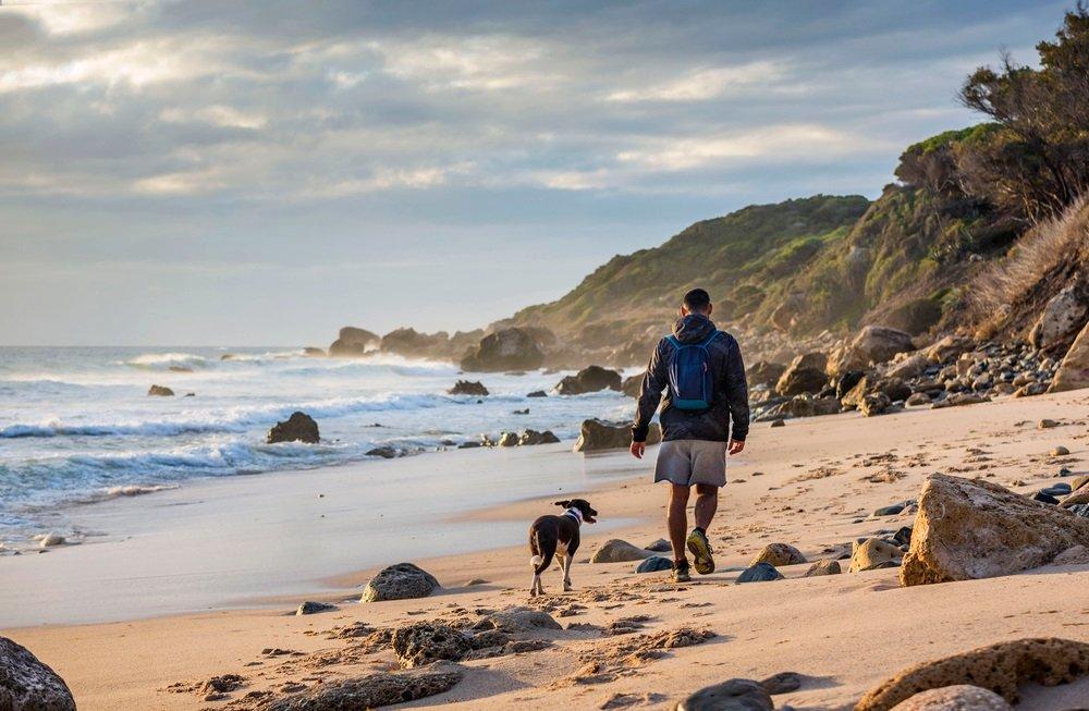 Jonge man wandelen met de hond op het strand van het natuurpark Strait, Tarifa, provincie Cadiz, Andalusië, Spanje.