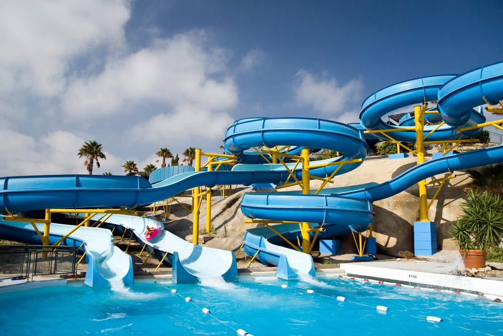 Aqualand in Torremolinos. Pretparken in Andalusië, Spanje.