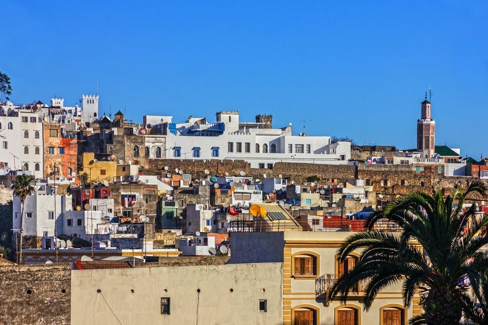 Tanger-stadsarchitectuur, Marokko, Afrika.